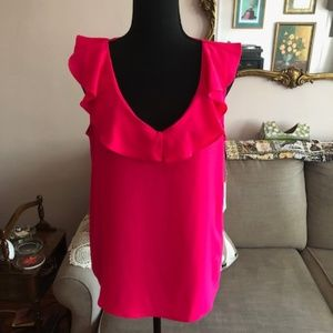 Fuschia Sleeveless Ruffleneck Blouse, Size Medium